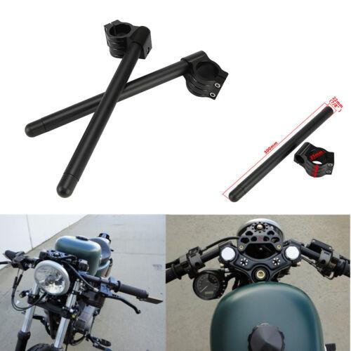"""Universal Black Clip-On Motorcycle 7//8/"""" Handlebars 35mm Fork Tube For Cafe Racer"""