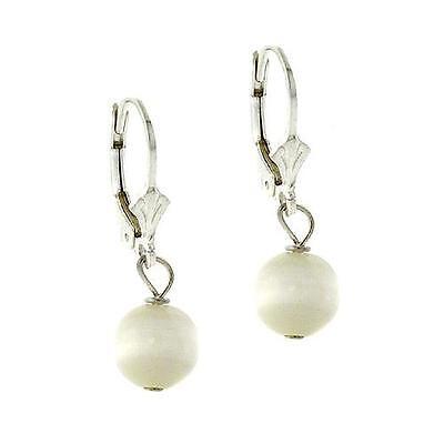 925 Silver 8mm White Cats Eye Bead Lever-Back Earrings