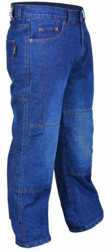 Motorcycle Motorbike Denim Jeans Trouser Protective Armored Lining Blue RAC3 New