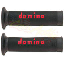 DOMINO COPPIA MANOPOLE MOTO A010 RACING FORATE NERO ROSSO STRADA SCOOTER GRIP