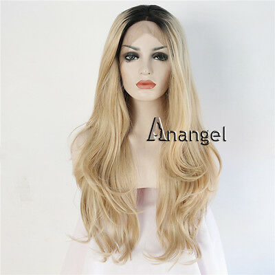Ombre Blonde Synthetic Lace Front wigs glueless natural wavy Dark Roots Full Wig