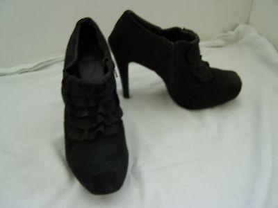 Tamaño 8 Negro Gamuza como textil, baja oculto Plat, Shoeboot con Tacón Stiletto