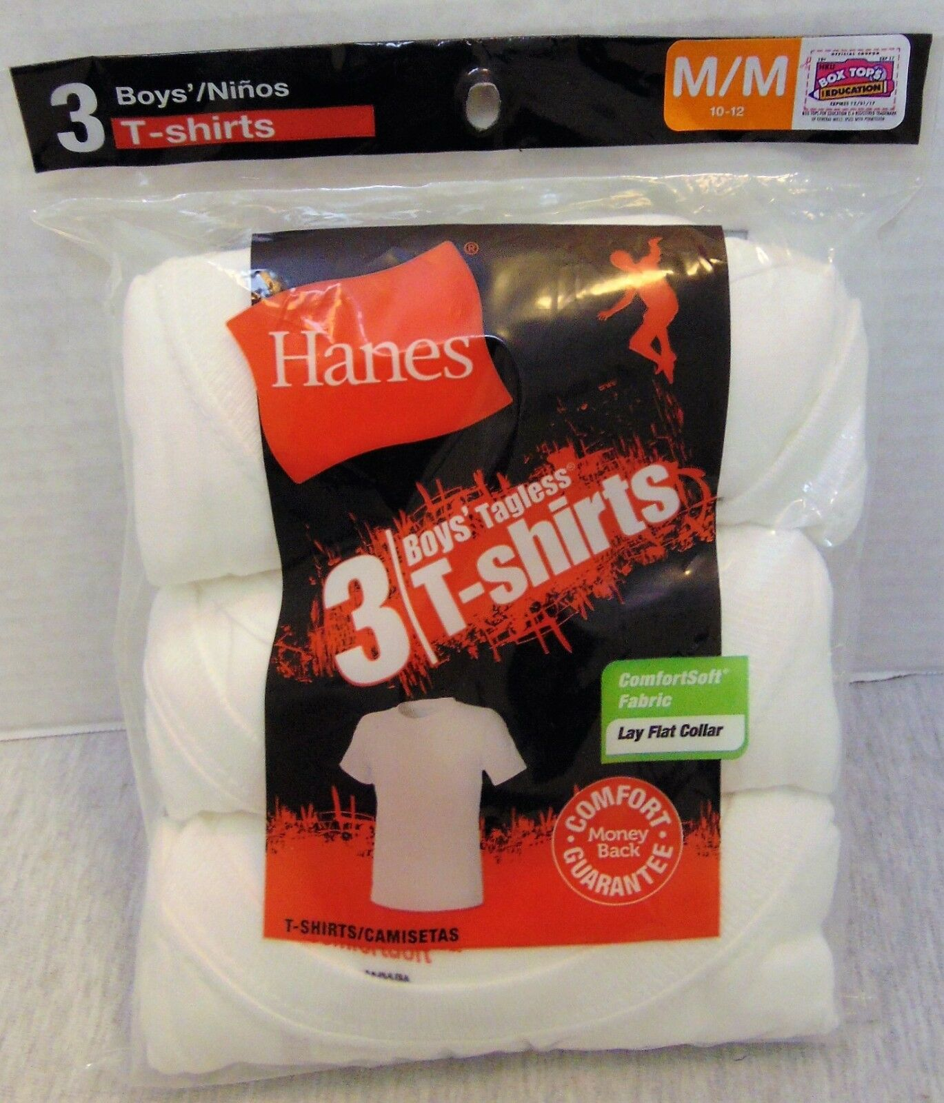 05d4601d Boy's Youth White 100 Cotton 3pk Short Sleeve Tagless T-shirt M 10-12 Hanes  for sale online | eBay