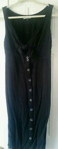 Universal-Thread-Black-Tie-Front-Maxi-Dress-Rayon-Linen-Blend-Small-sleeveless