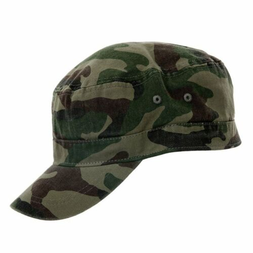 NEW CAMOUFLAGE CADET CAP COTTON CAMO HAT ARMY PEAK  2 SIZES UK SELLER