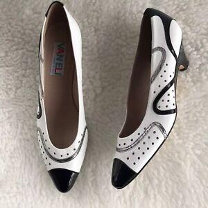 Black White Low Heel Dress Shoe sz 8
