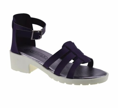 Girls Kids Mid Block Heel Ankle Strap Summer Party Gladiator Sandals Shoes Size