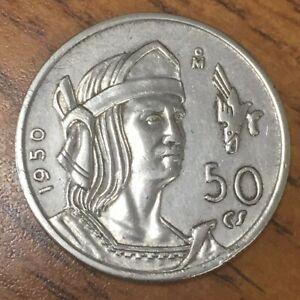 MEXICO-1950-Mexico-Silver-50-Centavos-Plata-Coin