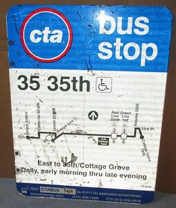 Used-Vtg-CTA-Bus-Stop-35-35th-Cottage-Grove-Chicago-Aluminum-Sign-24-x-18-S618