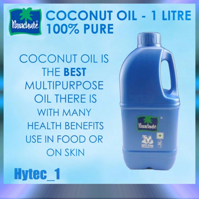 Parachute - 100% Pure Coconut Oil - 1 Litre -  Best Multipurpose oil