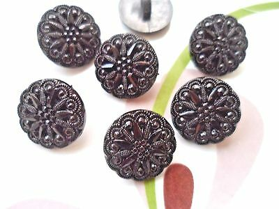 20pcs Buttons Round Caved Edge (3) Flower Pattern Sewing Faux Pearl Black 18mm
