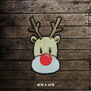 Reindeer Christmas Xmas Embroidered Iron On Sew On Patch Badge For Clothes etc