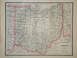 Free Ohio Map.Details About Vintage 1888 Map Ohio Old Antique Original Atlas Map Free S H100616