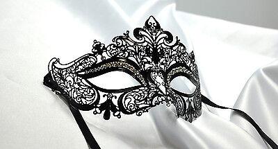 Royal  Laser Cut Venetian Crown Metal Mask Masquerade With Rhinestones