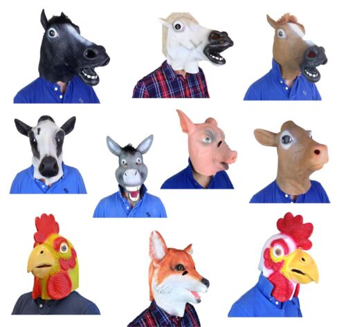 par la tête latex ferme animal Masques poulet VACHE CHEVAL RENARD déguisement