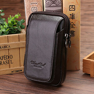 Genuine-Leather-Waist-Pack-Purse-Men-5-6-Inch-Cell-Phone-Case-Money-Belt-Bag