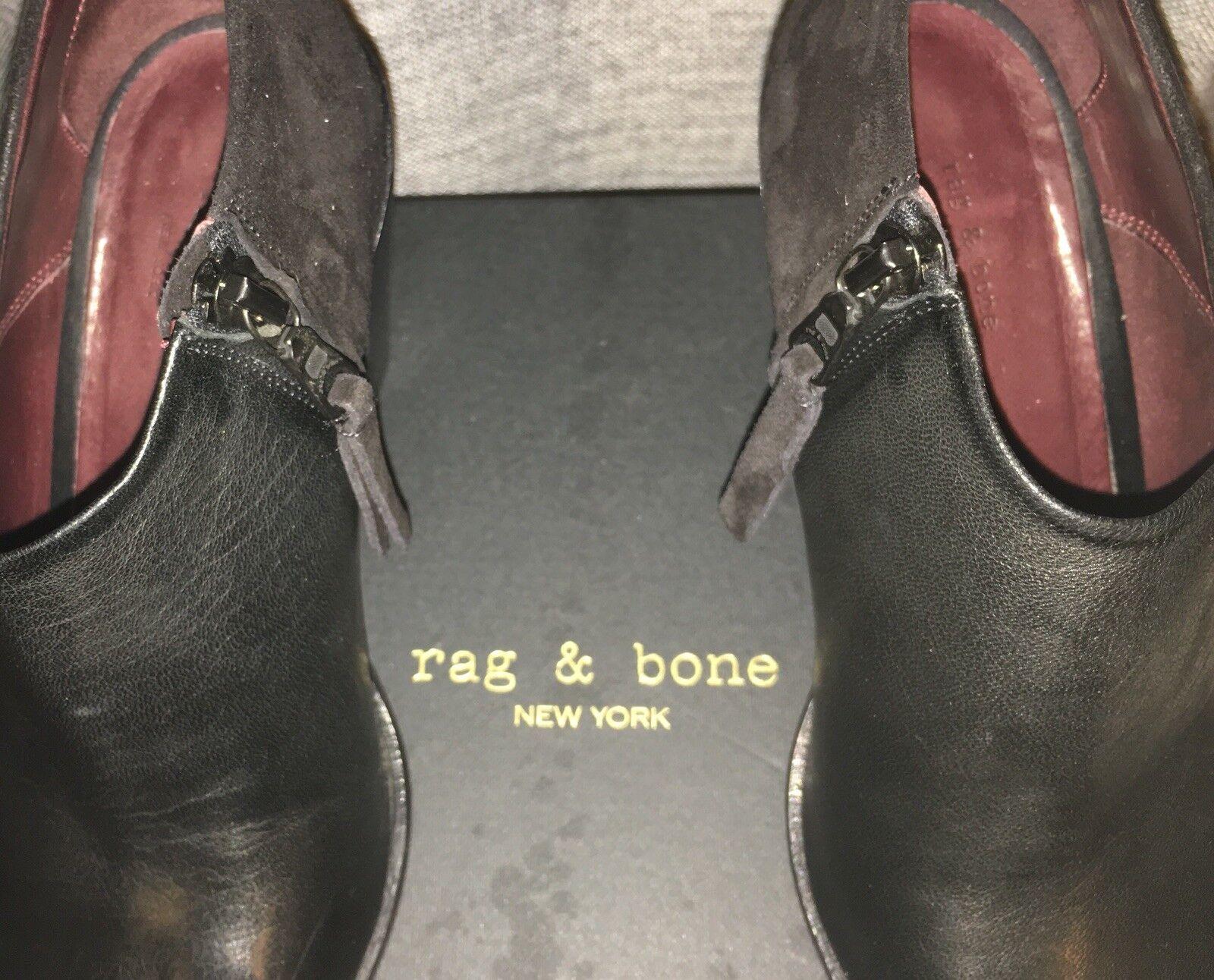 Rag Rag Rag and bone Botines puntera abierta. Cuero Y Gamuza Negra. f7dad5