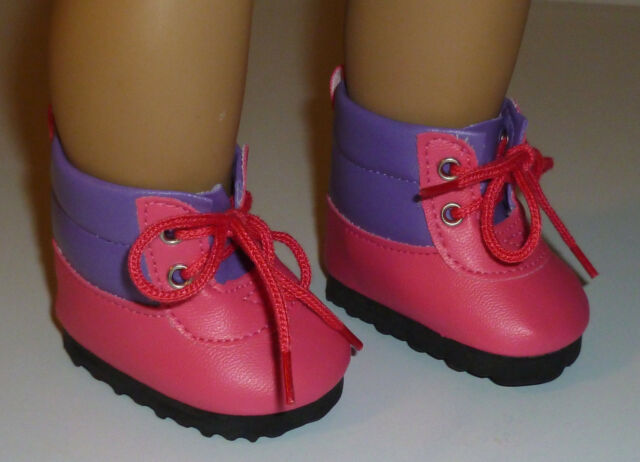 """Purple Pink Hiking Lace Up Boots Fits 18"""" American Girl Doll Clothes"""