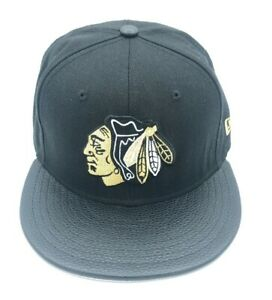 New-Era-59Fifty-NHL-Blackhawks-Leather-Flat-Bill-Hat-Cap-Black