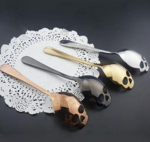 US Skull Sugar Spoon Stainless Steel Tea Coffee Cutlery Gift 4 color