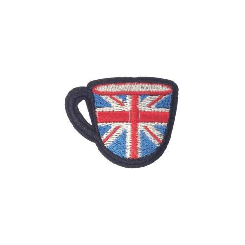 Embroidery Applique Patch Sew Iron Badge Union Jack Cup Of Tea Iron On
