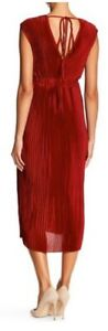 Romeo-amp-Juliet-Couture-Womens-Size-M-Red-Pleated-V-Neck-Maxi-Dress-Value-195