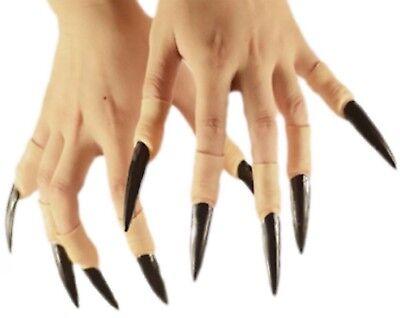 10 Stück Kunststoff Fingernägel schwarz zum Aufstecken Hexe Vampir Halloween