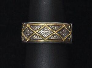 Konstantino-Men-039-s-Diamond-Pattern-Ring-Wedding-Band-Sz-10-Sterling-18K-Gold-New