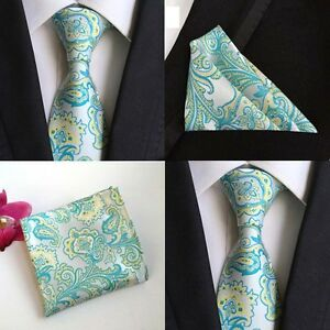 Men-Lake-Blue-Yellow-Paisley-Floral-Silk-Tie-Pocket-Square-Hanky-Set-Lot-HZ102