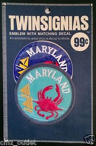 Vintage-MARYLAND-TWINSIGNIAS-Embroidered-EMBLEM-PATCH-amp-DECAL-Still-Sealed