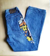 Ecko Hombres Jeans Bootcut Raro graffitis Tamaño 34/34 de alto aumento