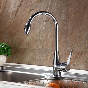 Chrome-Kitchen-Swivel-Spout-Single-Handle-Sink-Faucet-Pull-Down-Spray-Mixer-Tap