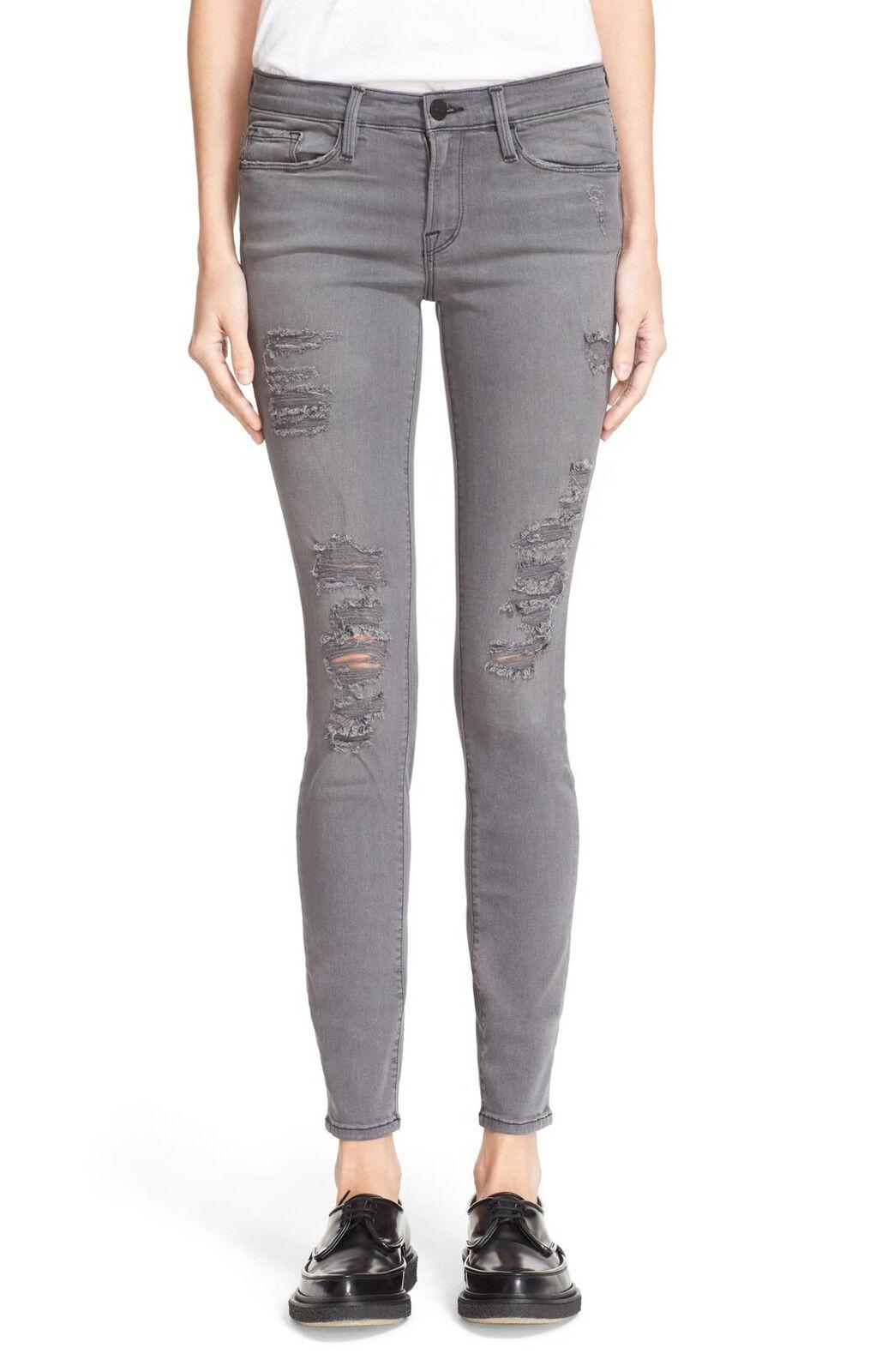 199 NEW FRAME Denim Le Skinny De Jeanne Satine Rips in Grey Shred - Size 30