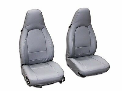 PORSCHE 911 928 944 968 GREY S.LEATHER CUSTOM MADE FIT FRONT SEAT COVER