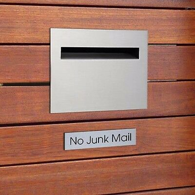 Street 'No Junk Mail' House Sign Plaque Small Brushed Aluminium