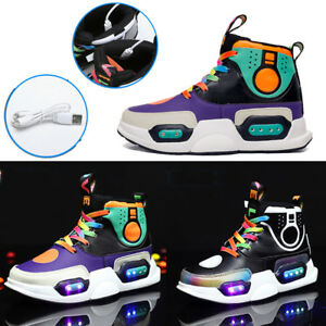 Details About Fashion Boys Girl Kids Led Light Up Shoes Usb Charger Sneakers High Shoes