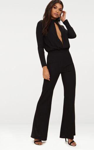 Bnwt Pretty Little Thing Noir Serrure Cut Out Jumpsuit Taille 6