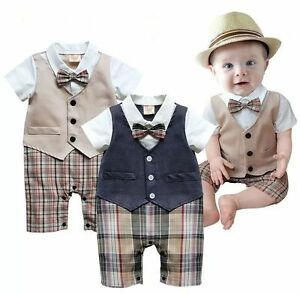 Newborn-Baby-Boys-Wedding-Formal-Suit-Bowtie-Romper-Shirts-Short-Outfits-Sets