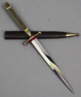 Letter Opener Ornate Engraved Brass Handle Solingen S/S Blade w/Leather Sheath