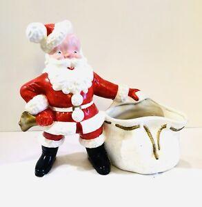 Vintage-Large-Ceramic-SANTA-w-Planter-Toy-Sack-Bag-12-x-12