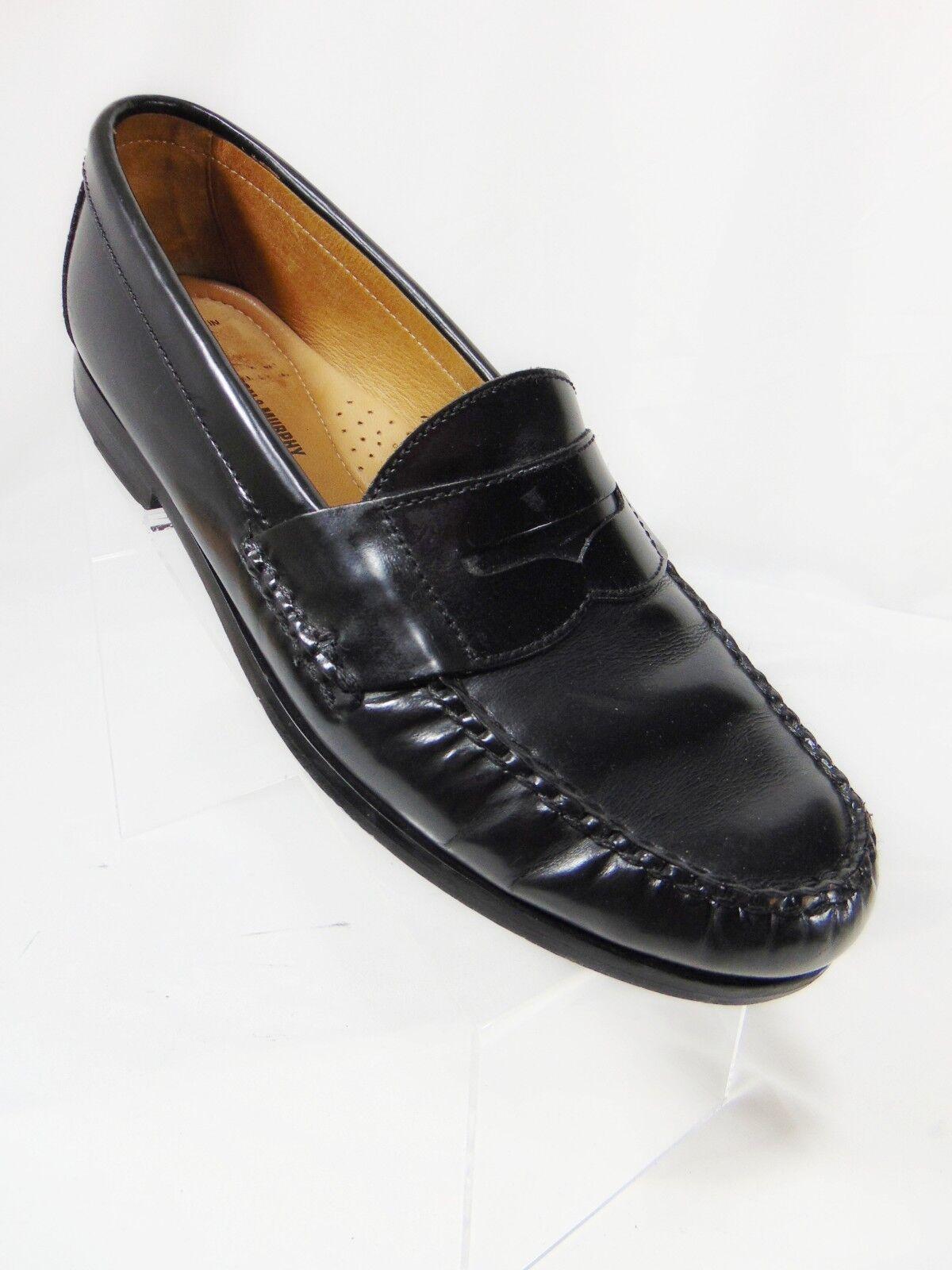 JOHNSTON & MURPHY Men's Penny Loafer Style shoes 10.5 M Black Leather  Sheepskin