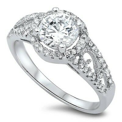 Sterling Silver Bridal Halo Clear CZ Engagement Wedding Promise Ring Size 5-10