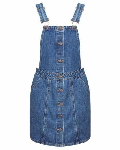 Shelikes Ladies Mid Blue Black Denim Button Up Pinafore Dungaree Dress Skirt