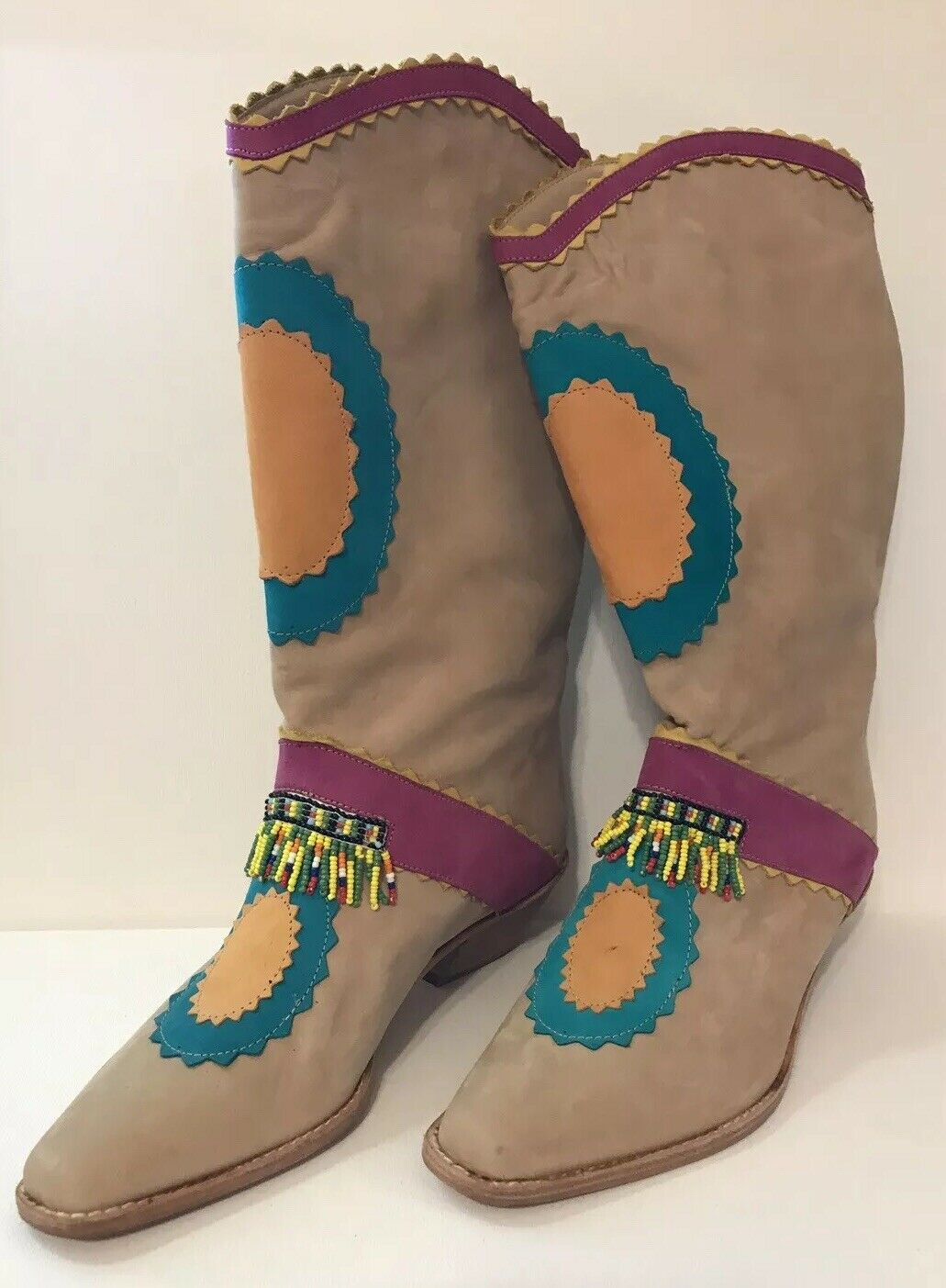 NWTs Vintage Biondini Size 6.5 Tan Multi-color Western Boots with Beaded Fringe