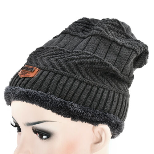 Men Women Winter Outdoor Fur Hat Wool Warm Fleece Lined Knitted Ski Cap Beanie