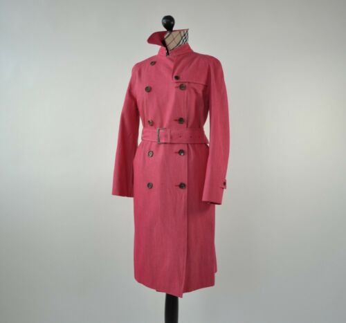 BURBERRY WOMENS PINK BELTED TRENCH COAT SIZE 8