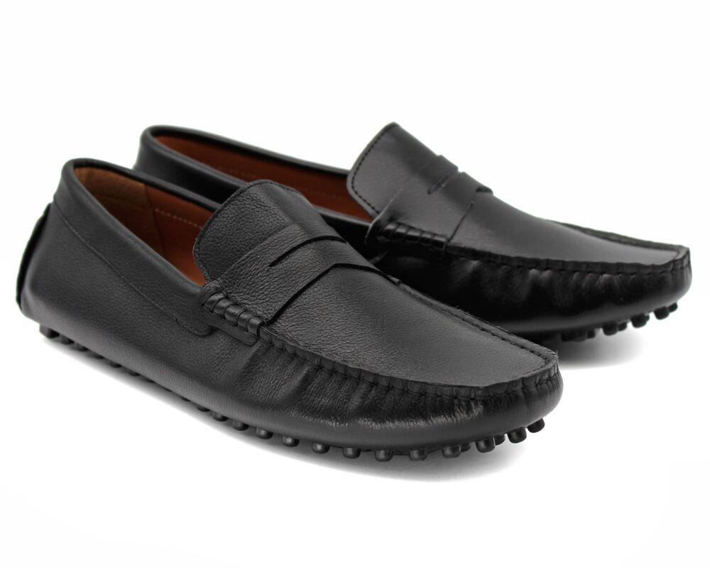 * 257 Uk 6 Homme Noir En Cuir Véritable Conduite Chaussures à Enfiler Mocassin Mocassins Eu 40