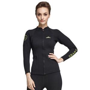 8ed5e13643 Women s 2mm Neoprene Long Sleeve Full Zipper Wetsuits Jacket Surf ...