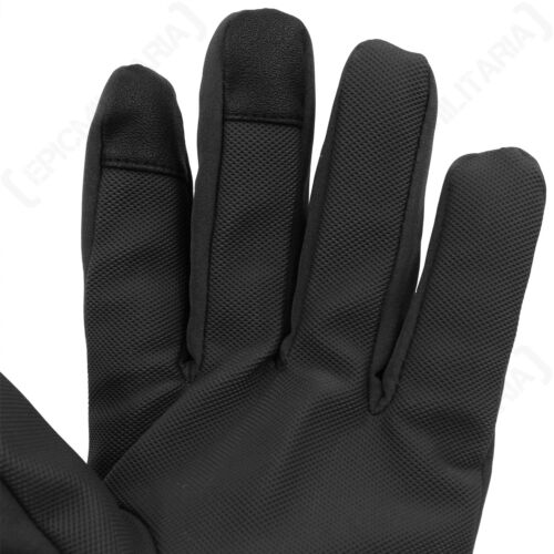 Black Softshell Gloves Winter Thinsulate Fleece Lined Touch Screen Tips New