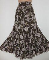 Blasler Crinkle Jacobean Floral Lined Long Godet Skirt, 12 Uk, 30 Waist
